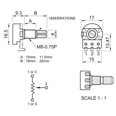 Potenciometro Spirit (eixo longo/base pequena) Log Taper p/ Circuito Ativo de guitarra/baixo B25k  - Luthieria Brasil