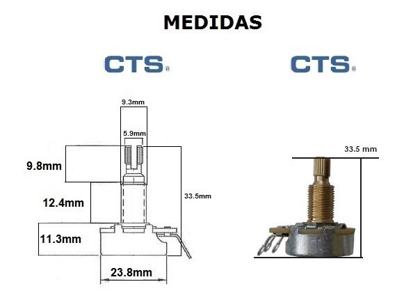 Potenciômetro CTS (eixo médio/base grande) para guitarra/baixo B500k  - Luthieria Brasil