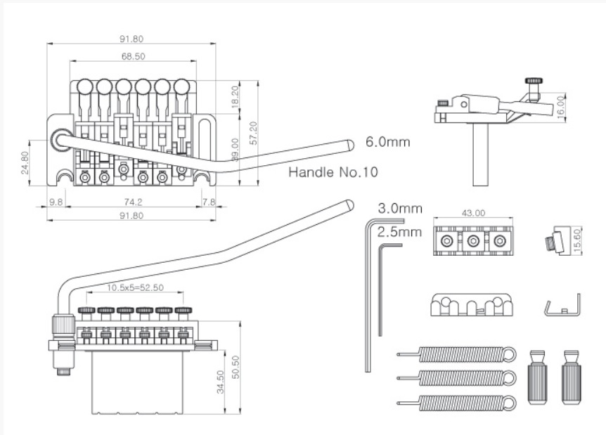 Ponte Preta Floyd Rose (Licenciada) - Spirit (FRT20-BK)  - Luthieria Brasil