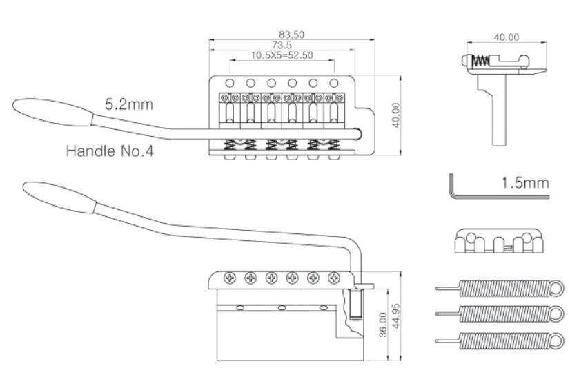 Ponte p/ Canhoto Cromada Vintage Stratocaster para guitarra - Spirit (ST36L-CR-WHT)  - Luthieria Brasil
