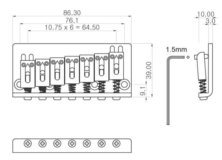 Ponte Cromada Fixa para guitarra 7 cordas - Spirit (JPN7-CR)  - Luthieria Brasil
