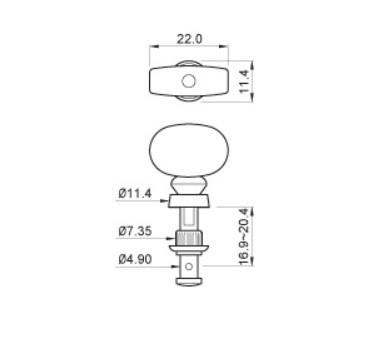 "Tarraxa Cromada c/ botão marrom ""2+2"" para Ukulele - Jogo 4 peças - Spirit (JU99-NI-BW-R2/L2)  - Luthieria Brasil"