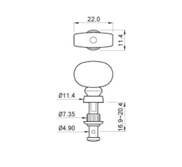 "Tarraxa Cromada c/ botão Marfim ""2+2"" para Ukulele - Jogo 4 peças - Spirit (JU99-NI-IV-R2/L2)  - Luthieria Brasil"