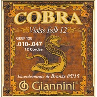 Encordoamento Giannini GEEF12E Série Cobra (85/15) para Violão Aço 12 cordas (.010)  - Luthieria Brasil