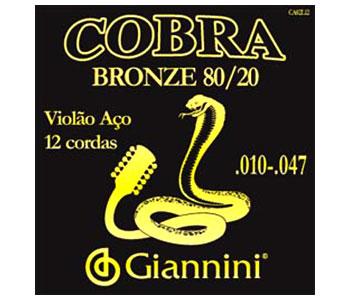Encordoamento Giannini CA82L12 Série Cobra (80/20) para Violão Aço 12 cordas (.010)  - Luthieria Brasil
