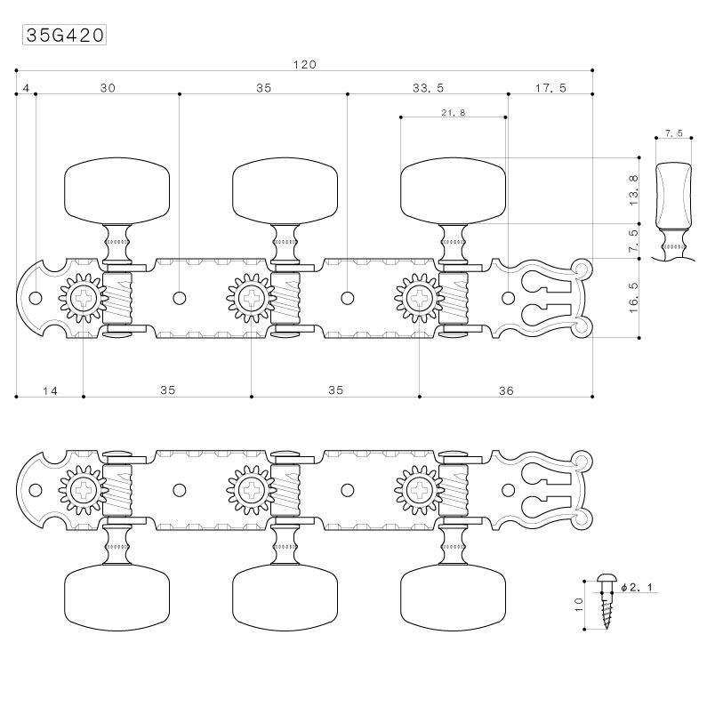 Tarraxa níquel pino grosso com botão branco para violão de nylon 6 cordas - Gotoh (35G-350S)  - Luthieria Brasil