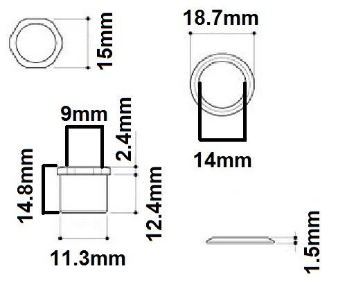 Buchas e arruelas pretas para tarraxas de contrabaixo - Spirit (MH15-BK) - Kit com 4 peças  - Luthieria Brasil