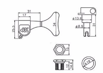 "Tarraxa Cromada Blindada ""reversa"" para baixo - jogo 4 peças - Wilkinson (WJB650-R CR)  - Luthieria Brasil"