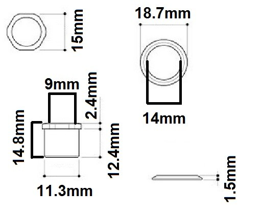 Buchas e arruelas cromadas para tarraxas de contrabaixo - Spirit (MH15-CR) - Kit com 4 peças  - Luthieria Brasil