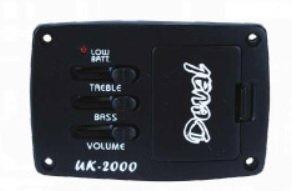 Kit Equalizador 2 bandas para violão c/ captador de rastilho Omega - UK-2000 - Deval - GKRO-2A  - Luthieria Brasil