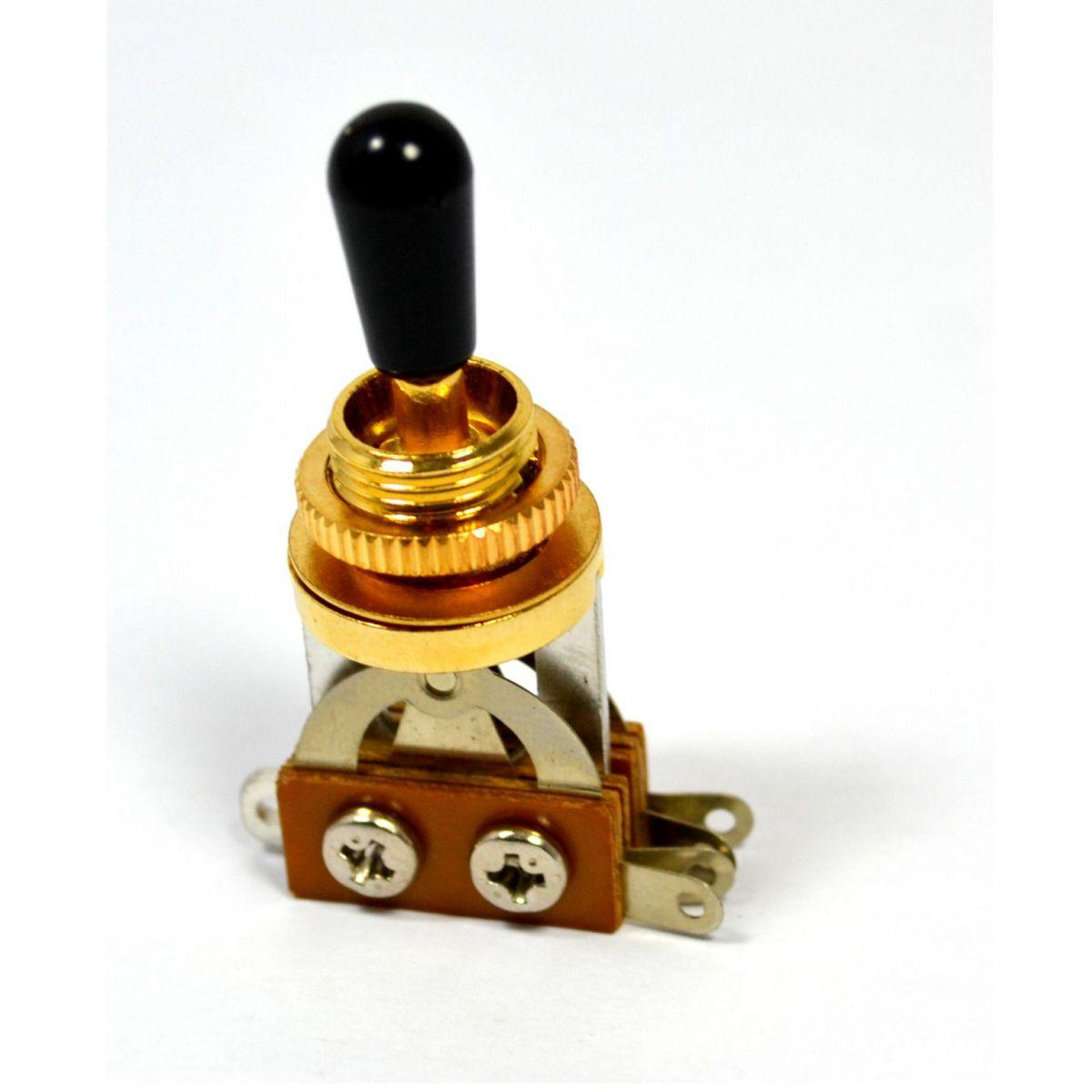 Chave seletora 3 posições Les Paul dourada com knob preto  - Luthieria Brasil