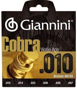 Encordoamento Giannini CA82XL Série Cobra (80/20) para Violão Aço (.010)  - Luthieria Brasil