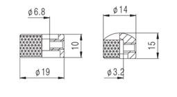 Knob Metal (Duplo) Preto c/ Parafuso Allen (NC001)  - Luthieria Brasil