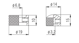 Knob Metal (Duplo) Dourado c/ Parafuso Allen (NC001)  - Luthieria Brasil