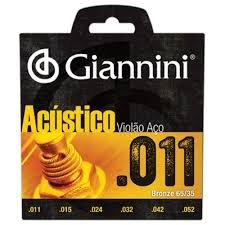 Encordoamento Giannini GESPW Série Acústico para Violão Aço (.011)  - Luthieria Brasil