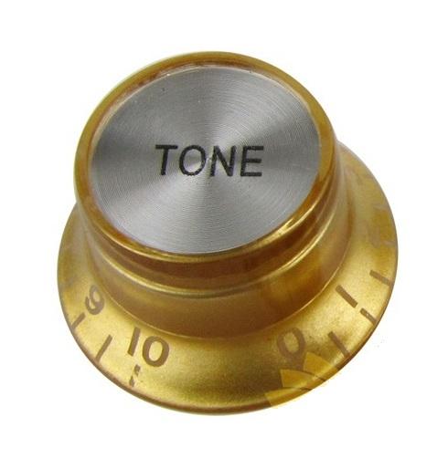 Knob Plástico Dourado com topo Prata P/ Guitarra SG - Tone  - Luthieria Brasil