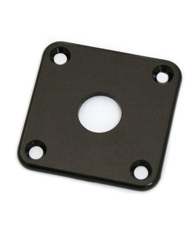 """Jack Plate """"quadrado"""" de plástico preto p/ guitarra (reto) - Spirit (PLJC)  - Luthieria Brasil"""
