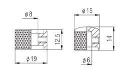 Knob Metal (Duplo) Preto c/ Parafuso Allen (NC003)  - Luthieria Brasil