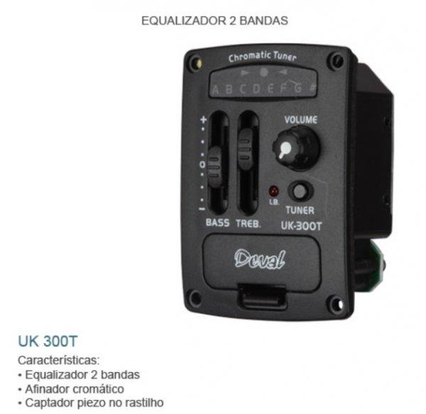 Kit Equalizador 2 bandas para violão c/afinador e captador de rastilho Omega (Piezzo) - UK-300T -  Deval - GKRO-2A  - Luthieria Brasil