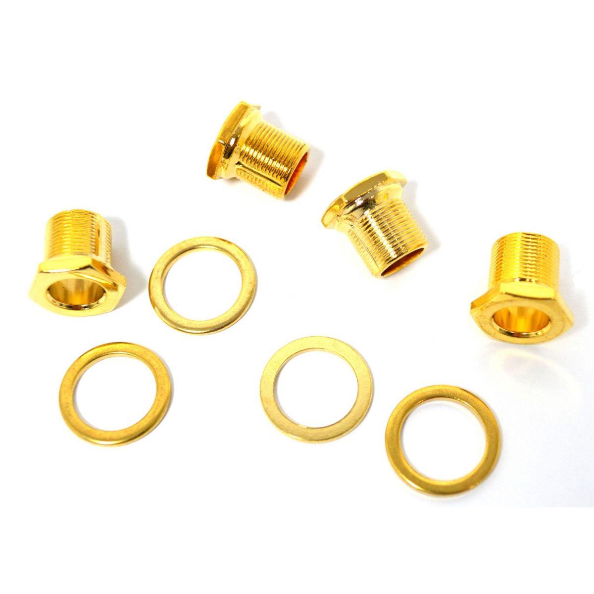 Buchas e arruelas douradas para tarraxas de contrabaixo - Spirit (MH15-GD) - Kit com 4 peças  - Luthieria Brasil