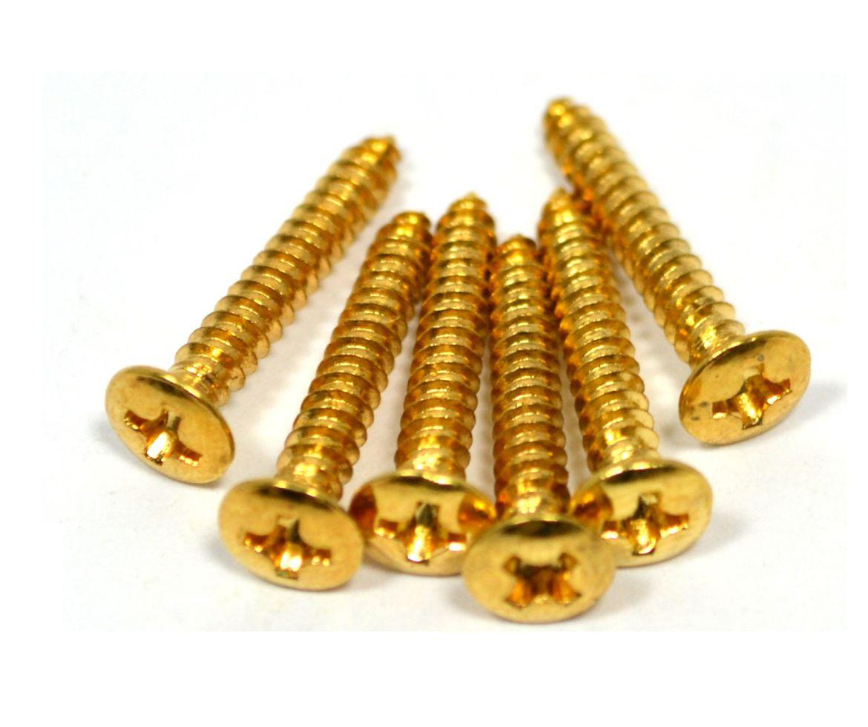 Parafuso dourado p/ ponte de guitarra (20mm x 3mm) - kit c/ 06 peças  - Luthieria Brasil