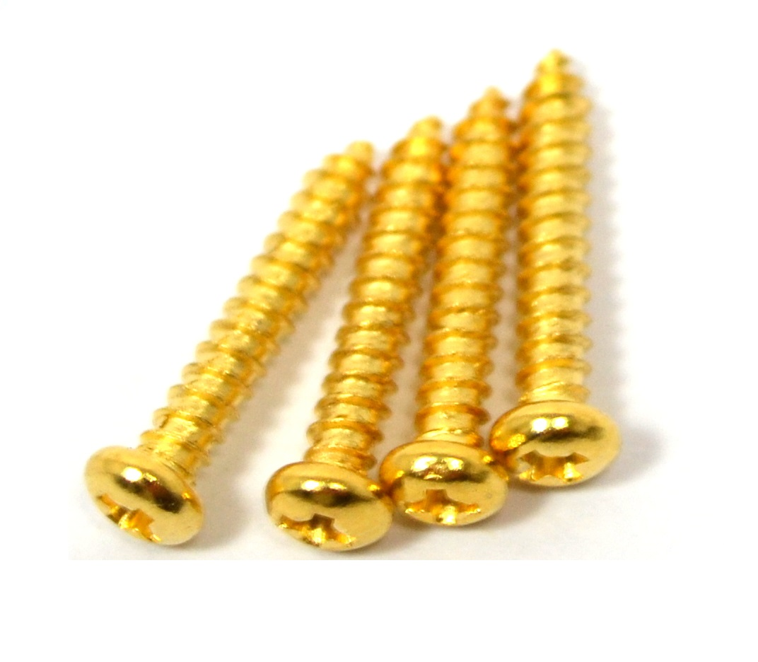 Parafuso dourado para moldura de captador - kit c/ 4 peças (15mm x 2,5mm)  - Luthieria Brasil
