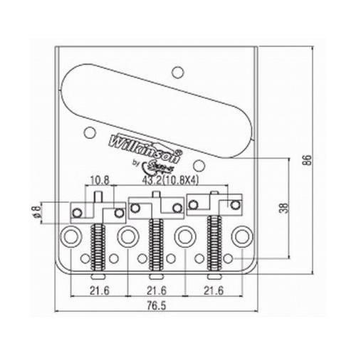 Ponte Cromada estilo Telecaster Vintage (3 carrinhos) para guitarra - Wilkinson by Sung-il (WTB)  - Luthieria Brasil