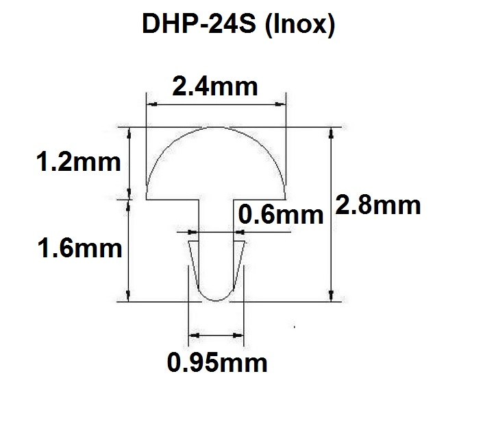Traste Inox DHP médio/jumbo para violão/guitarra/baixo - 1,2mm (altura) x 2,4mm (largura) x 1 metro (DHP-24S)  - Luthieria Brasil