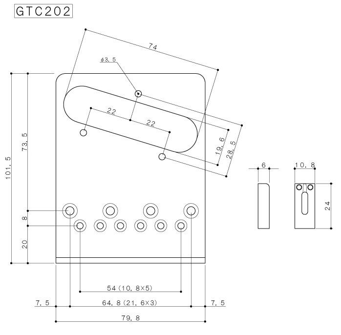 Ponte Preta estilo Tele c/ 6 carrinhos (Moderna) para guitarra -  Gotoh (GTC202-BK)  - Luthieria Brasil