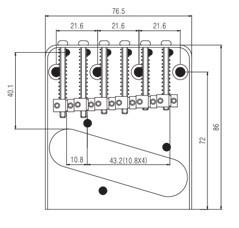 Ponte Cromada estilo Telecaster (6 carrinhos) para Guitarra - Sung-il (BT006)  - Luthieria Brasil