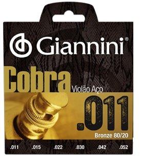Encordoamento Giannini CA82SL Série Cobra (80/20) para Violão Aço (.011)  - Luthieria Brasil
