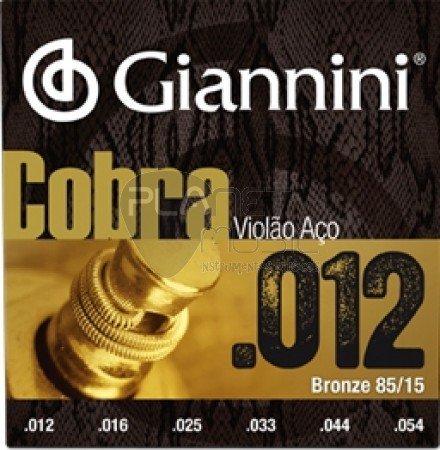 Encordoamento Giannini GEEFLKS Série Cobra (85/15)  para Violão Aço (.012)  - Luthieria Brasil