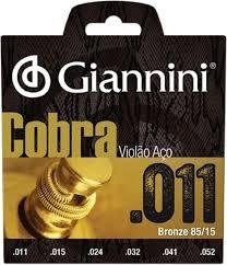 Encordoamento Giannini GEEFLK Série Cobra (85/15)  para Violão Aço (.011)  - Luthieria Brasil