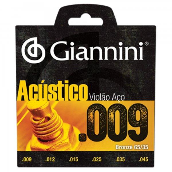 Encordoamento Giannini GESWAL Série Acústico para Violão Aço (.009)  - Luthieria Brasil