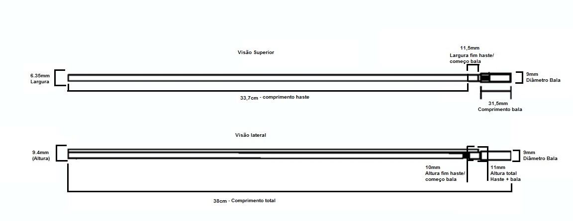 Tensor (truss rods) Sung il para viola Barra Dupla com ação dupla (38cm)  - Luthieria Brasil