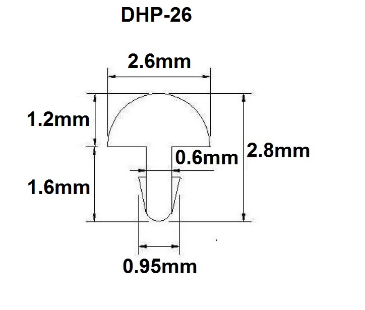Traste DHP médio/jumbo para violão/guitarra/baixo - 1,2mm (altura) x 2,6mm (largura) x 1 metro (DHP-26)  - Luthieria Brasil