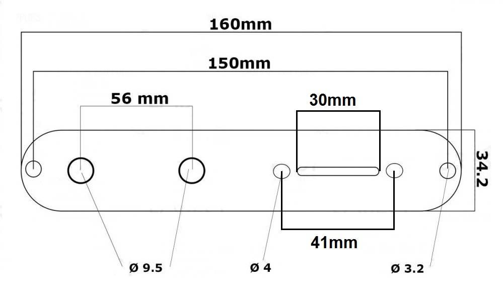 Control Plate Cromado para Telecaster  - Luthieria Brasil