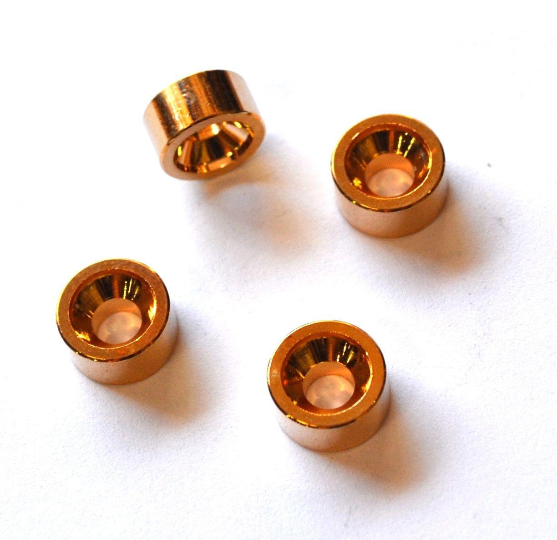 Buchas douradas para fixação do braço de guitarra/baixo (Modelo 4) - Kit com 4 peças  - Luthieria Brasil