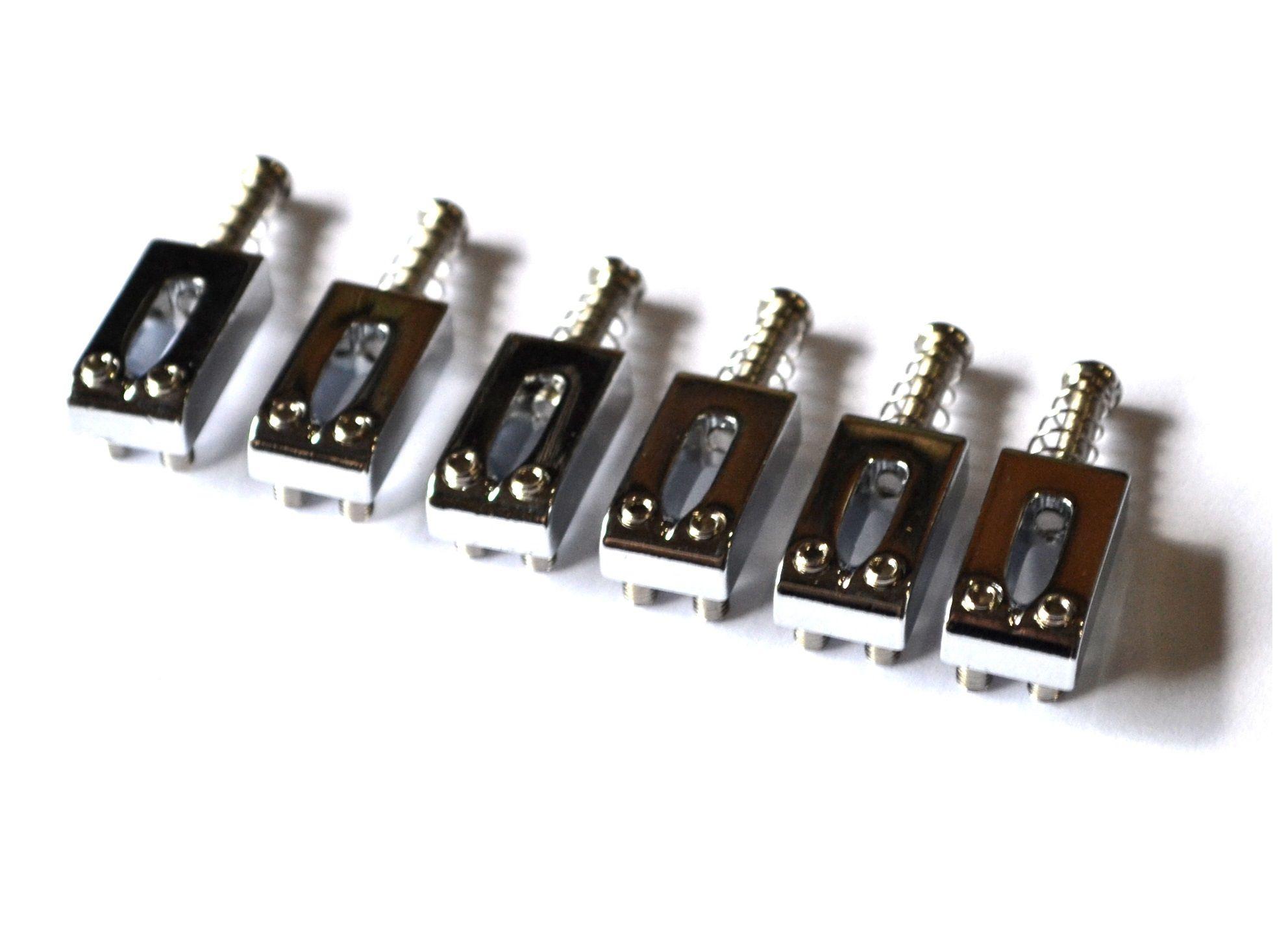 Carrinhos (saddles) cromados para guitarra - Espaçamento 10.8mm - Kit com 6 peças - Sung-il (PS006)  - Luthieria Brasil