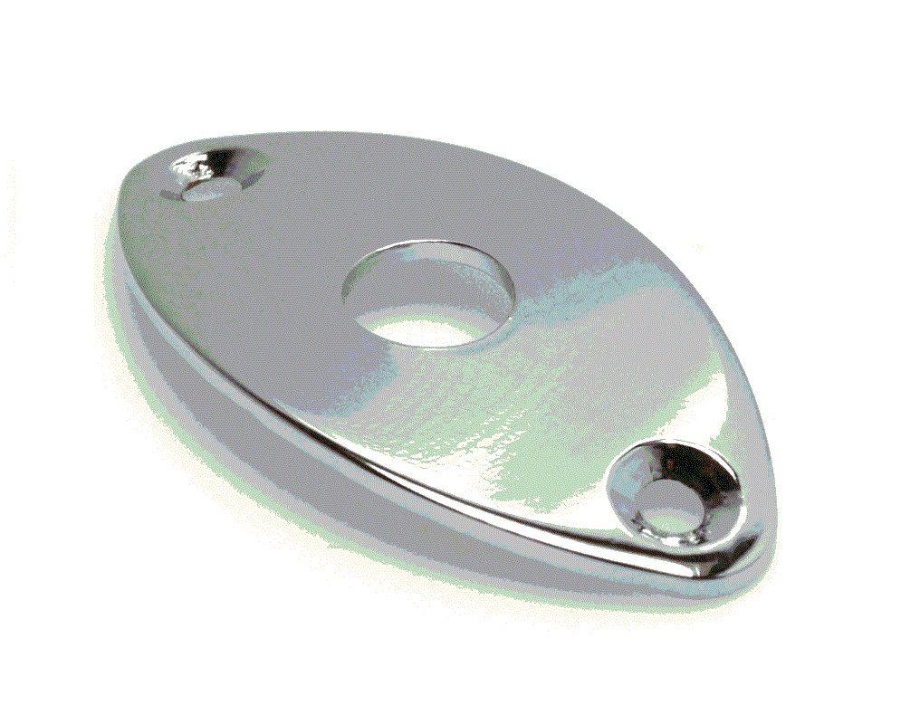 "Jack Plate ""oval"" cromado de metal para guitarra/baixo  - Luthieria Brasil"