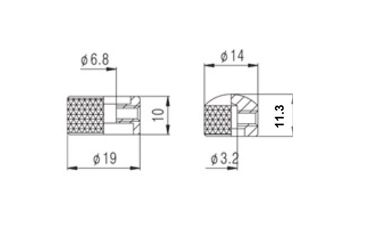 Knob Metal (Duplo) Cromado c/ Parafuso Allen (NC001)  - Luthieria Brasil