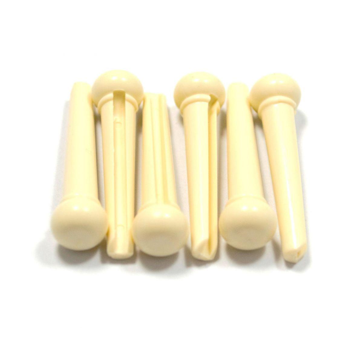 Pino creme para cavalete de violão (aço) (Kit com 6 unidades)  - Luthieria Brasil