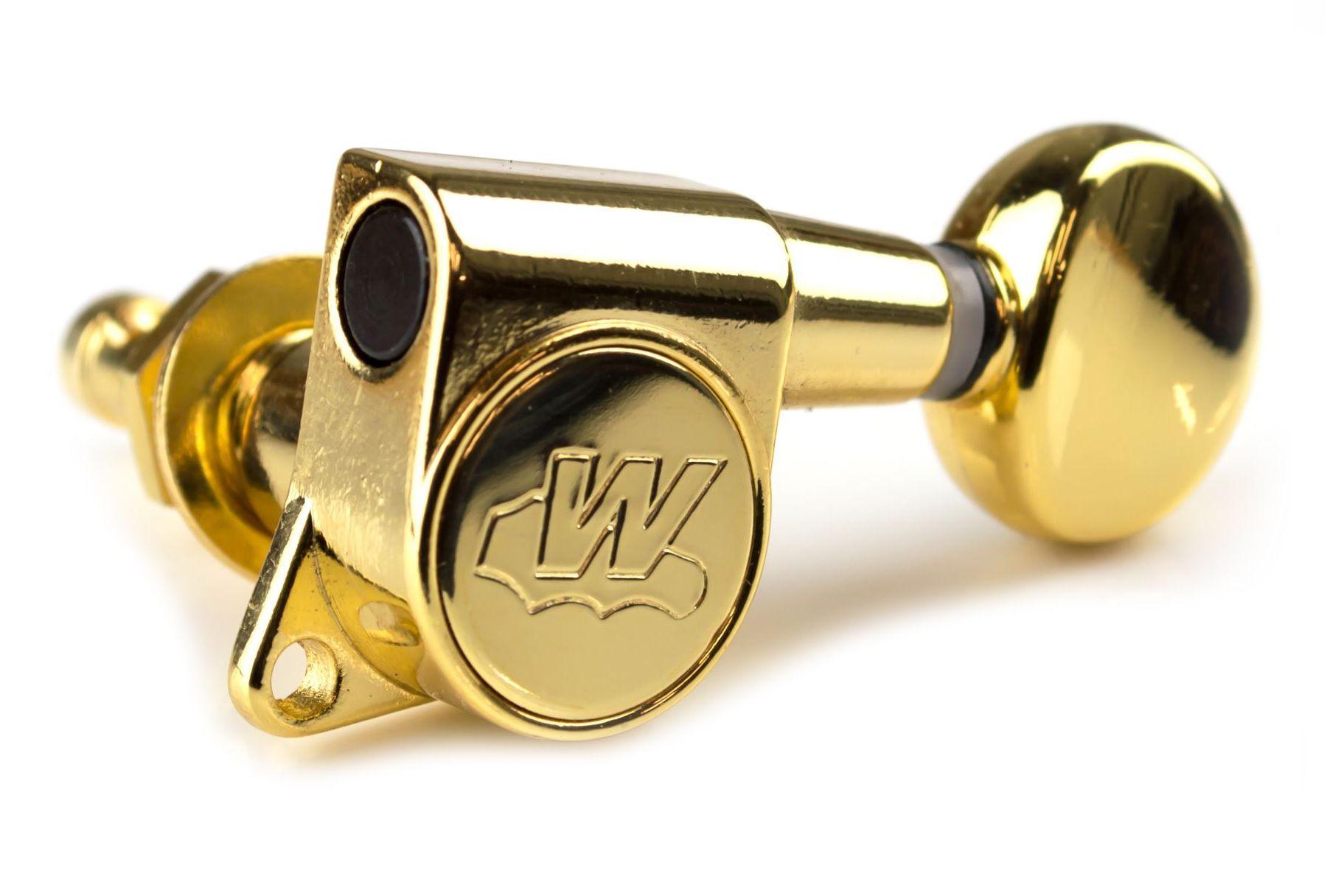 """Tarraxa Dourada Blindada """"em linha"""" c/ Ez-lok para guitarra - jogo 6 peças - Wilkinson (WJN-05L-GD)  - Luthieria Brasil"""