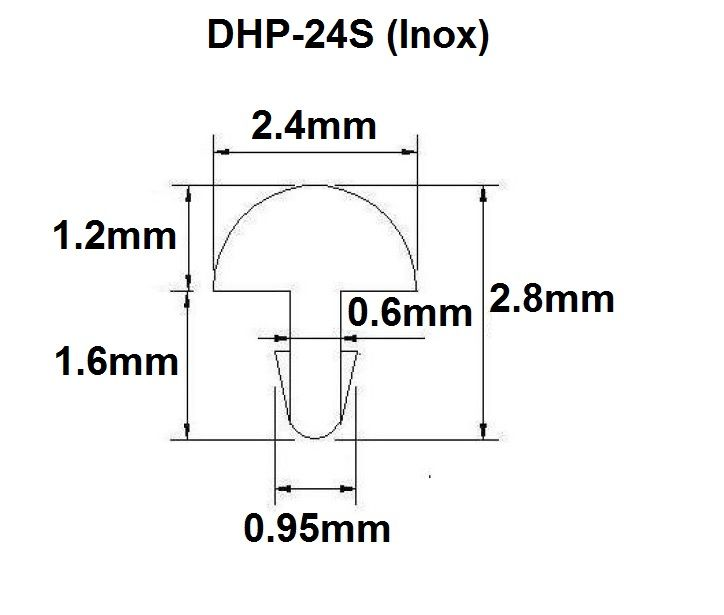 Traste Inox DHP-24S médio/jumbo para violão/guitarra/baixo - 1,2mm (altura) x 2,4mm (largura) - Rolo com 10 metros  - Luthieria Brasil