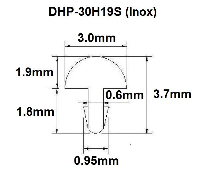Traste Inox DHP-30H19S extra jumbo para guitarra/baixo - 1,9mm (altura) x 3,0mm (largura) - Rolo com 3 metros  - Luthieria Brasil