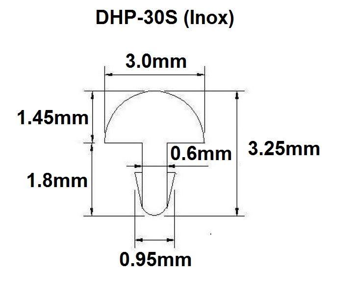 Traste Inox DHP-30S extra jumbo para guitarra/baixo - 1,45mm (altura) x 3,0mm (largura) - Rolo com 10 metros  - Luthieria Brasil