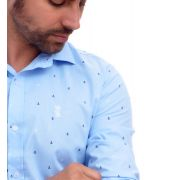 Camisa Social Azul Claro Mini Print Ancoras Sergio K