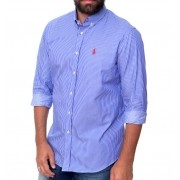 Camisa Social Listrada RL Stripes RA Blue - Regular Fit