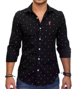 Camisa Social Preta Mini Print Ancoras Sergio K