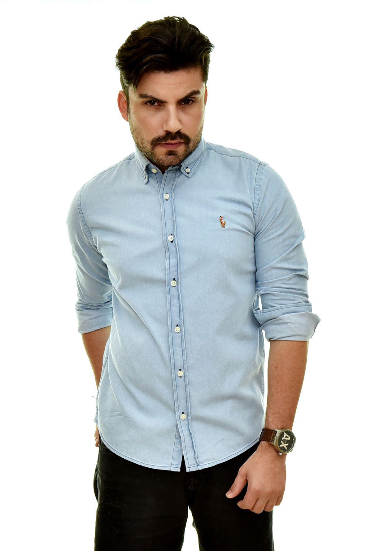 Camisa Jeans Azul Claro RL - Custom Fit  - Ca Brasileira